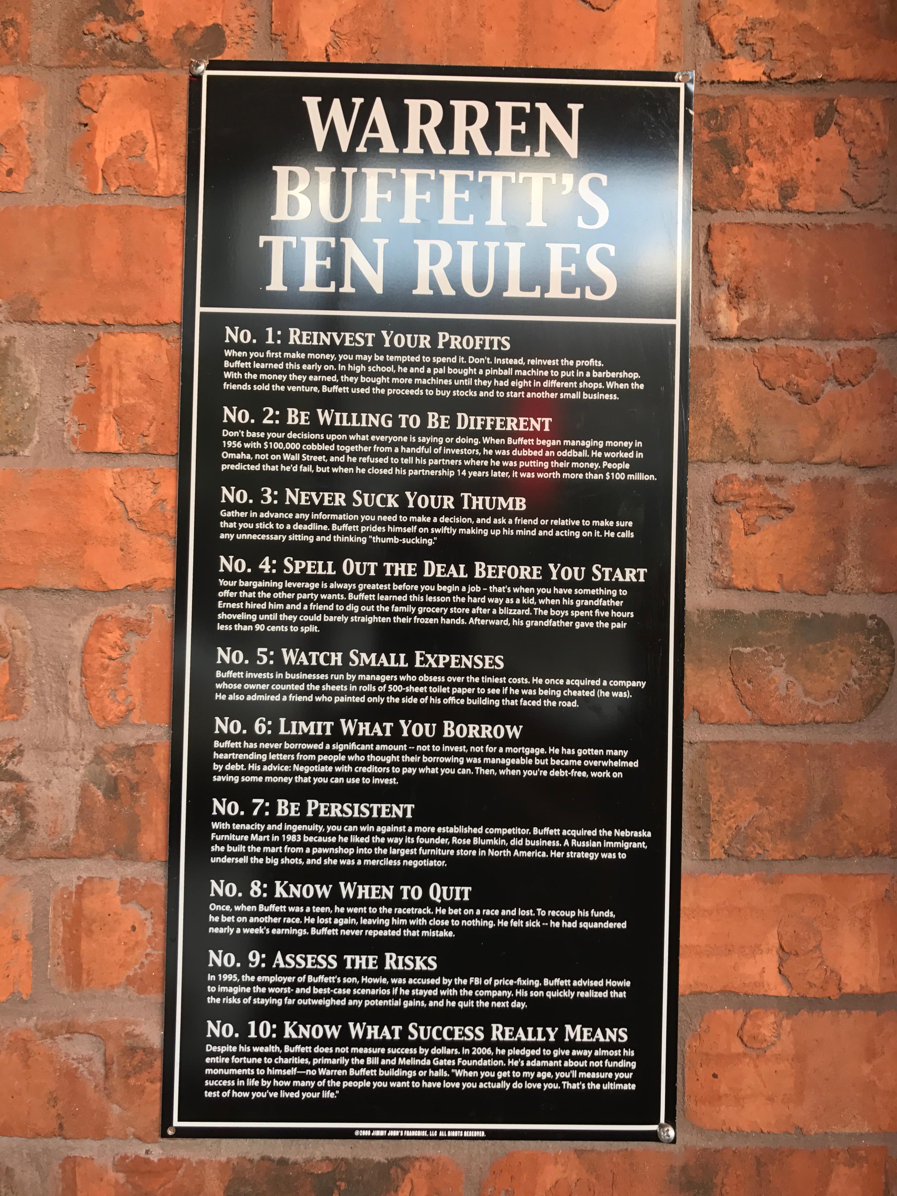 Warren Buffett's Ten Rules - Jimmy John's - Vintage Value Investing